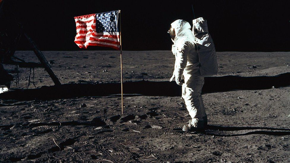 US astronaut Buzz Aldrin pictured on the Moon during the Apollo 11 mission