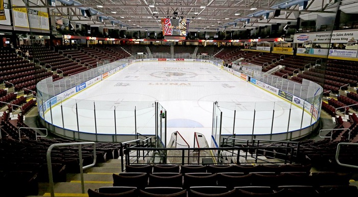 An empty Progressive Auto Sales Arena in Sarnia, Ont. When the fans found out the great Woody C. would not be playing for the visiting Hornets, the fans did not care about the game. (Luke Durda/OHL Images)
