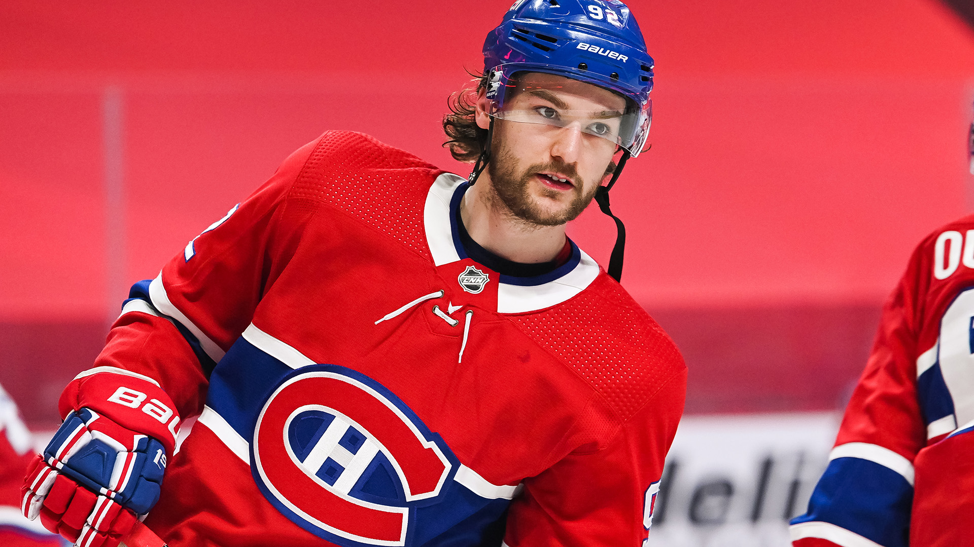 MONTREAL, QC - APRIL 14: Look on Montreal Canadiens left wing Jonathan Drouin (92) at warm-up before the Calgary Flames versus the Montreal Canadiens game on April 14, 2021, at Bell Centre in Montreal, QC (Photo by David Kirouac/Icon Sportswire via Getty Images)