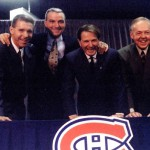 From left to right: new Canadiens GM Réjean Houle, new head coach Mario Tremblay, team president Ronald Corey and new assistant coach Yvan Cournoyer pose for photo during news conference at the Bell Centre on Oct. 21, 1995. Montreal Gazette